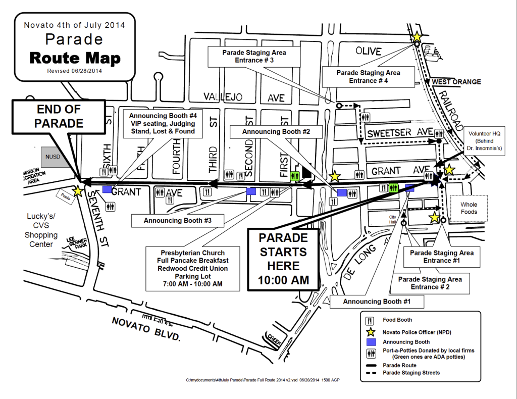 Novato July 4th Parade Map 2014